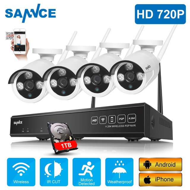 SANNCE 4CH HD 720P Wireless Home Security System 1080P HDMI NVR With 4pcs 720P Outdoor Weatherproof Wifi IP Cameras CCTV Set
