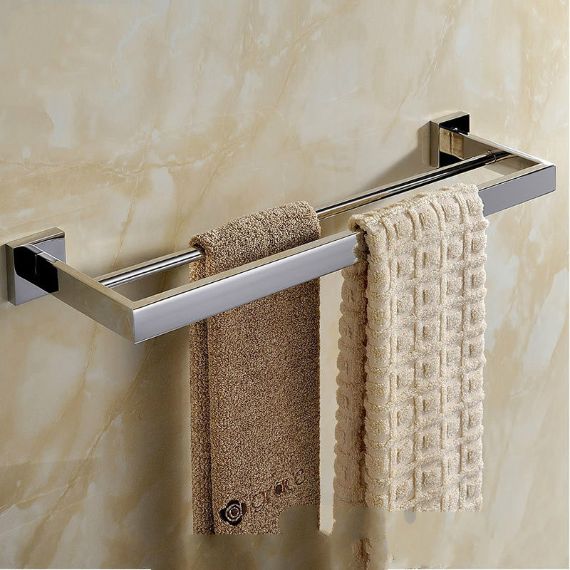 Towel bar double pole square 304 stainless steel towel rack light / brushed bathroom towel rack sucker bathroom towel rack stainless steel bar folding frame multi pole hanging