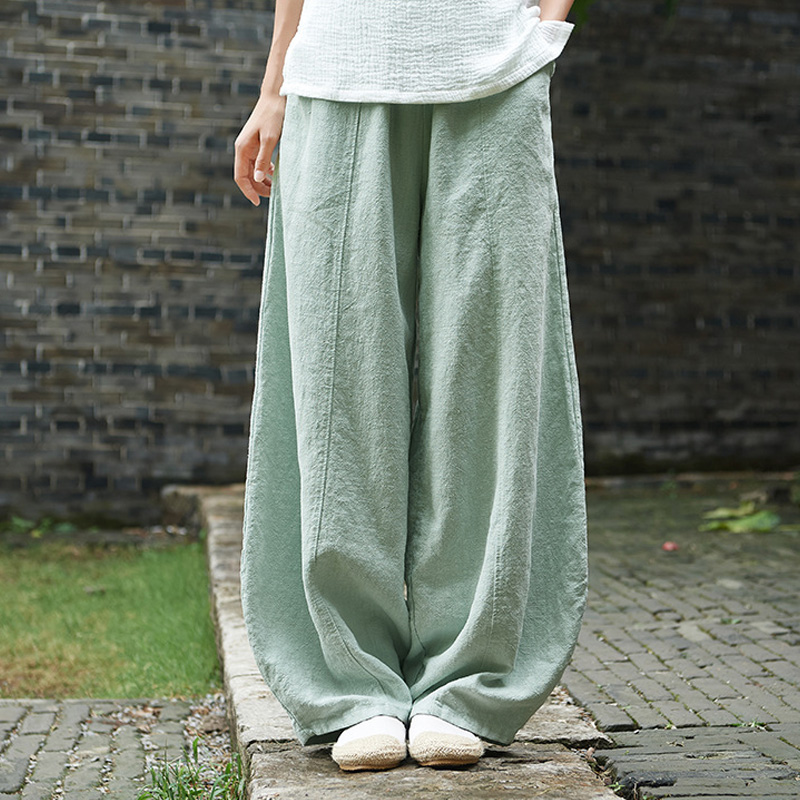 Autumn Solid Color Pockets Loose Pants New Women Vintage Elastic Waist Cotton Linen Wide Leg Full Length Pants