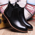 Chelsea boots men 2016 fashion leather Pointed toe Men Ankle boots Winter men boots Rivets Martin boots outdoor botas hombre