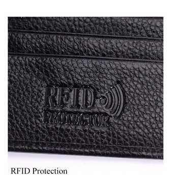 10pcs/lot RFID Protection Passport Wallet Men Genuine Leather Travel Passport Cover Case Black Spuer Thin Card Holder Wallet R6
