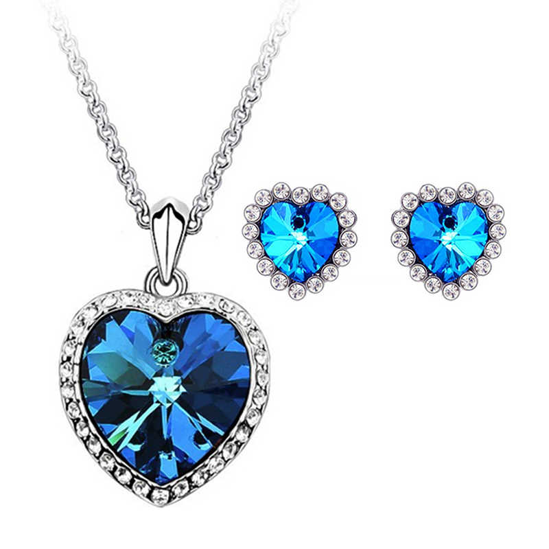 Heart Necklaces Earrings For Women Jewelry Sets The Heart Of Ocean Earrings And Necklace Set Crystal Bridal Set Wedding Jewelry