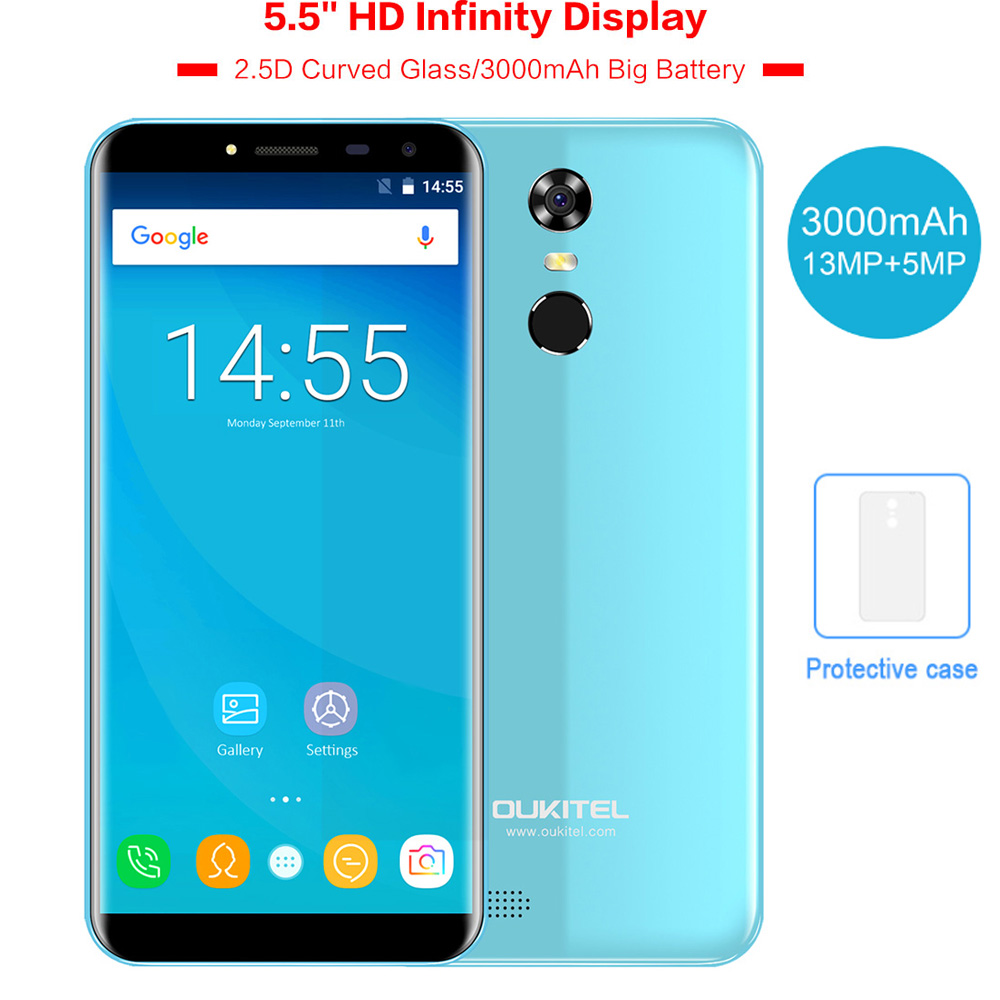 OUKITEL C8 5.5 18:9 Infinity Dispaly Curved 3G Mobile Phone Android 7.0 Quad Core 2GB+16GB Fingerprint 8MP 3000mAh Smartphone