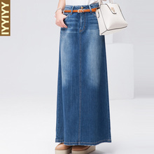 Free Shipping 2017 New Fashion Long Maxi Denim Jeans Skirt Spring And Autumn A-line Skirts Plus Size S-XL Blue Casual Skirts
