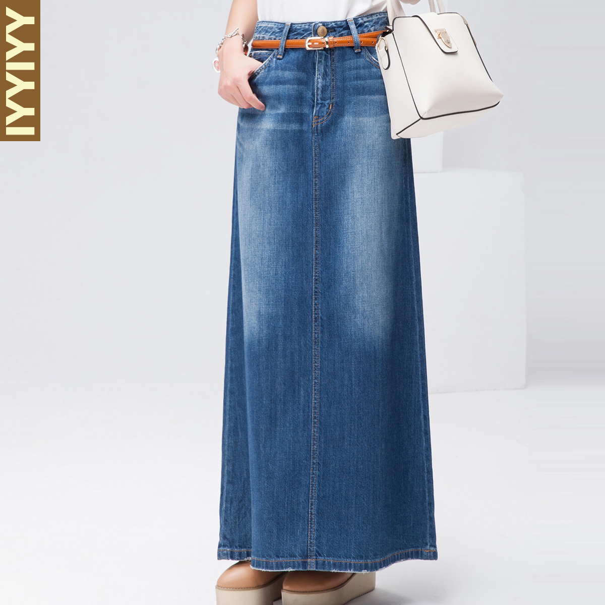 Free Shipping 2018 New Fashion Long Maxi Denim Jeans Skirt Spring And Autumn A-line Skirts Plus Size S-XL Blue Casual Skirts free shipping new spring and summer fashion men s denim jeans slim wear white pantyhose feet