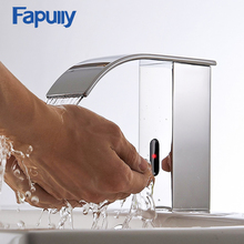 Fapully Bathroom Waterfall Faucet Deck Mounted Hands Touch Automatic Sensor Sink Tap