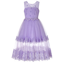 CAILENI Kids Ankle-Length Long Princess Dress Elegant Purple Lace Evening Flower Girl Wedding Party Dresses For 4-12 Years