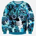 Alisister nova moda homens/mulheres's camisola 3d harajuku impressão flores azuis hoodies do crânio Dia De Los Muertos sudaderas Mujer top