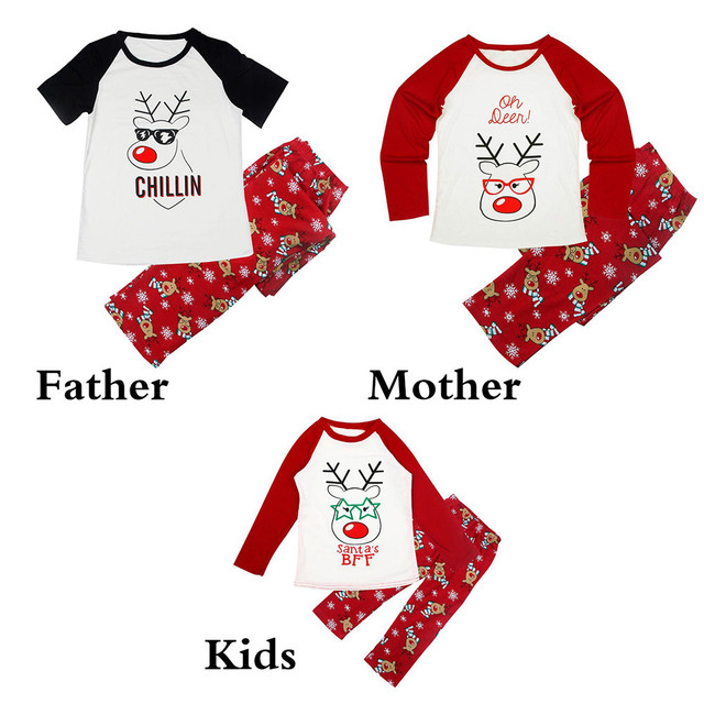 8f2645975441 Family Clothes Set Mon Dad Kids Deer Printing T shirt Tops Red Pants ...