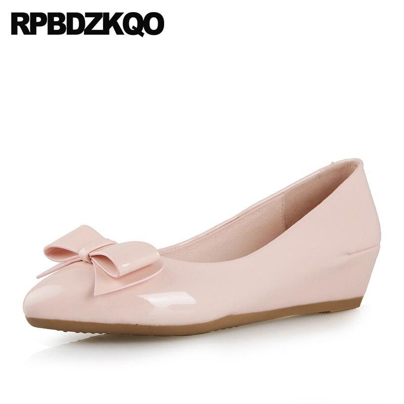 Taille 4 34 Casual Pas Cher Bout Pointu En Cuir Verni Designer Rose Arc Pompes Wedge Dames Moyen Talons Haute 2018 Qualité chaussures