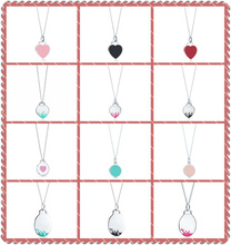 1:1 S925 Sterling Silver Original TIFF Colours Epoxy&Spray Heart-Shaped Roundness Egg Shape Necklace Women Elegant Charm Jewelry dermspe tiff 925 sterling silver 1 1 authentic original heart shaped green pendant necklace charm simple women clavicle
