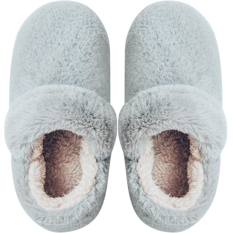 Winter Fur Slippers 2018 Home Plush Warm Shoes Men Comfotable Solid Couple Slippers EVA Anti-slip Indoor Shoes Male Unisex