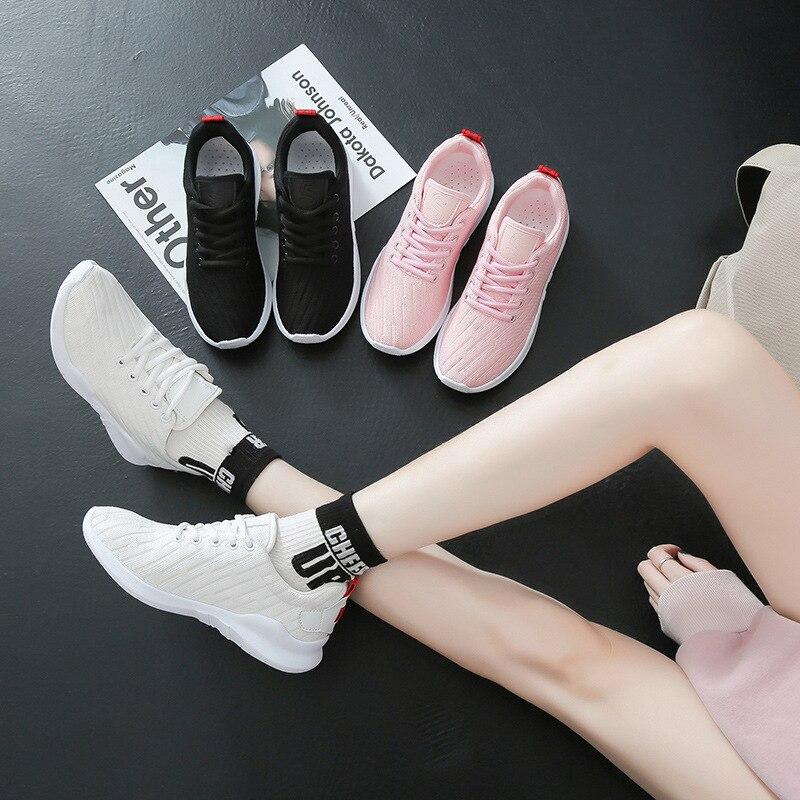 El Zapatillas Las Mujer Gilrs Suela Ulzzang Negro Coreano De Zapatos Malla Tamaño Plataforma Mujeres rosado Gruesa Gran Casual blanco Estudiantes Aire 2019 zqwzPr