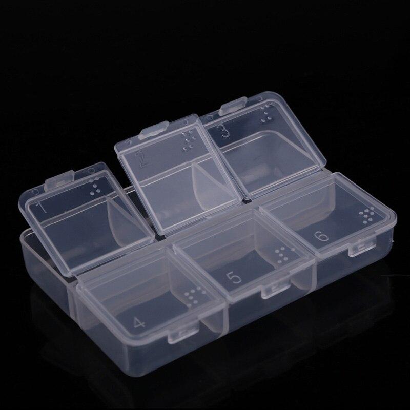 New Mini Portable Transparent Folding Empty Braille 6 Cells Pill Medicine Drug Plastic Storage Case Box Medical Tool JY