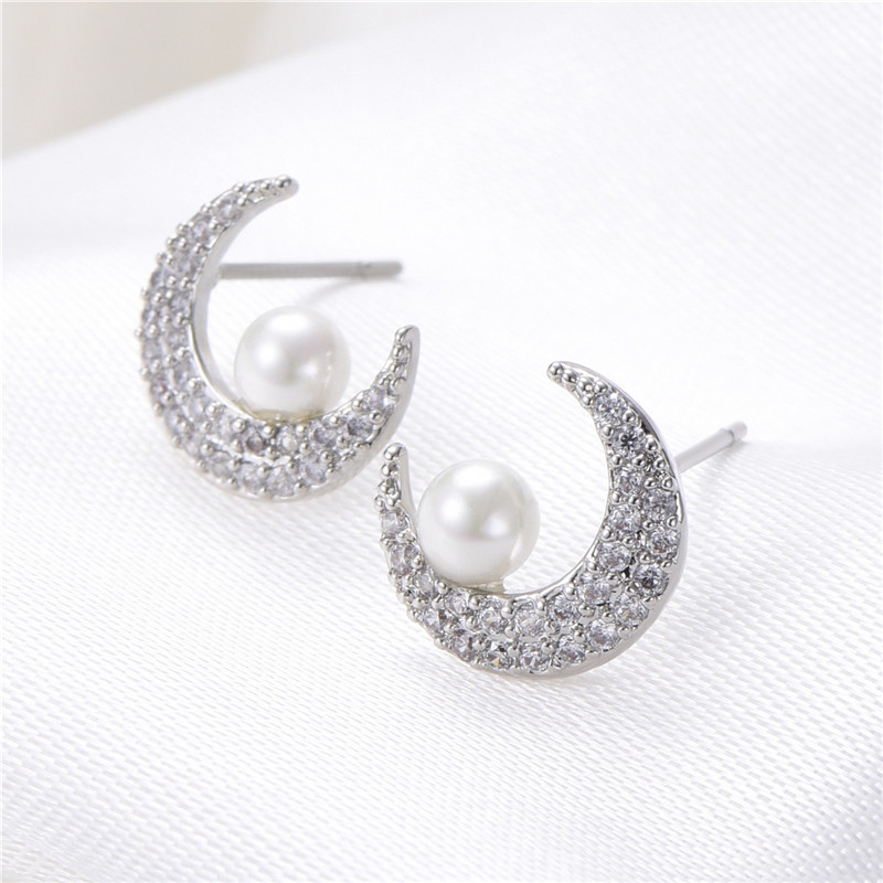Fashion Gold Silver Color Crystal Rhinestone PeaZircon Moon Stud Earring Simulated Pearl Earrings For Women Statement Jewellery