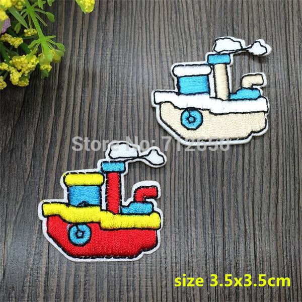 New arrival  mixed 10 pcs 2 colors sailing boats Embroidered patch iron on Applique garment embroidery patch DIY accessory