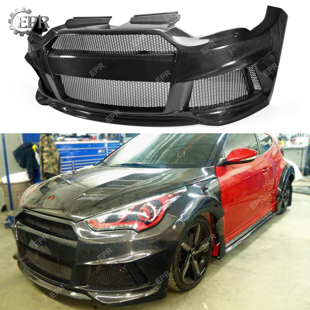 Carbon Bumper For Hyundai Veloster Lordpower Wide Body Fiber Front Tuning Trim Accessories