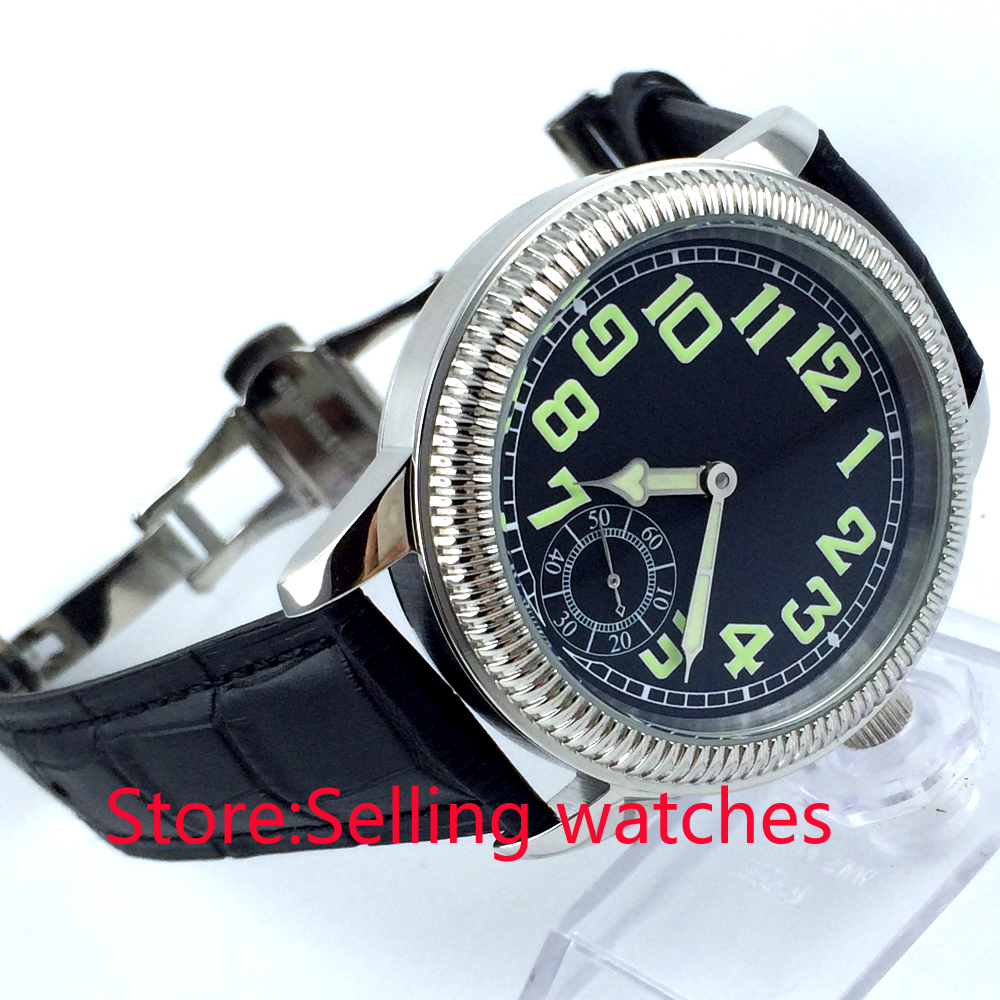 44mm parnis black dial seagull 6498 hand winding movement leather mens watch 44mm parnis black dial luminous marks seagull 6498 hand winding mens watch