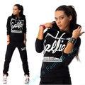 2017 mulher treino hoodies clothing set carta impressão mulheres sportwear terno 2 peça definir trajes camisola + calças sudaderas