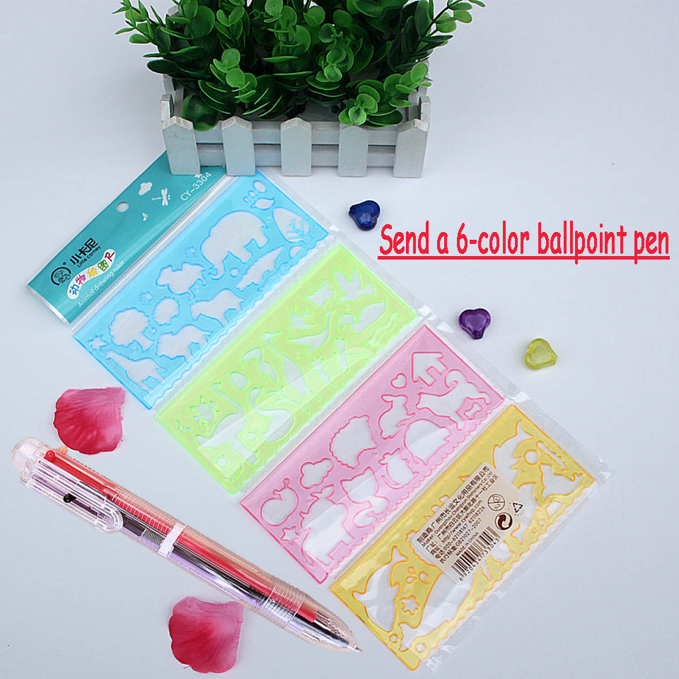 4Pcs Cute Drawing Template Ruler Student Painting Supplies  School Stationery Send A Color Ballpoint Pen Creative Gift