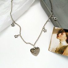 Personality trend goes with metal five-pointed star necklace everyday wear with fashionable female love student collarbone chain rhinestone star collarbone necklace set