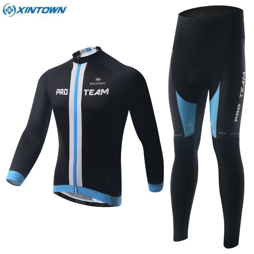XINTOWN Sports Team Mens Wear Bike Cycling Jersey Top Bicycle Long Sleeve Outfits Jacket Bib Pants Set