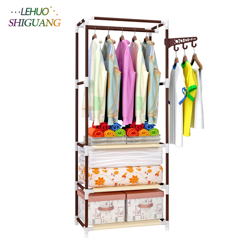 Standing Coat Rack Stainless Steel Assembly Clothes Rack Bedroom Furniture  Shelf Hanging Storage Clothes Hanger Wardrobe