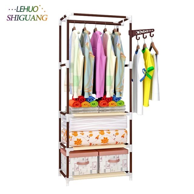 Standing Coat Rack Stainless Steel Embly Clothes Bedroom Furniture Shelf Hanging Storage Hanger Wardrobe