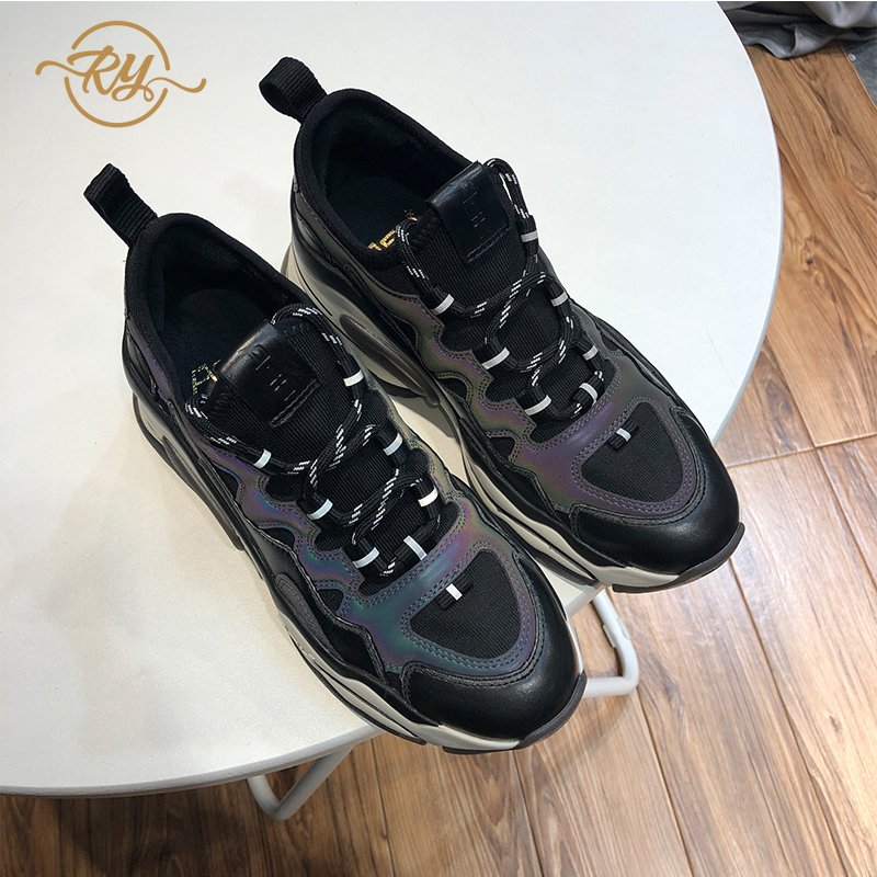 RY RELAA Sneakers Women Fashion Genuine Leather Casual Shoes Women Ins Style Wedge Sneakers Women's Lycra Shoes Platform Shoes