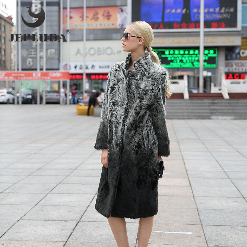 JEPLUDA Femmes D'hiver Réel Manteau De Fourrure Nouvelle Mode Nouveau Populaire Couleur Turn-down Col Long Manteaux De Fourrure D'agneau D'hiver veste 68H01-104