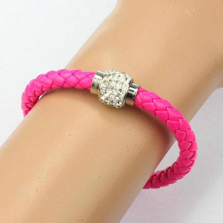 1 szt opaska magnetyczne Rhinestone klamra skórzane bransoletki Wrap bransoletka biżuteria akcesoria bransoletki Wristband wykwintne bransoletka