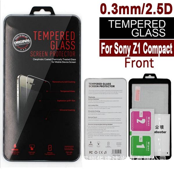 bilder für 100 stücke Für Sony Xperia Z1 compact mini clear front ausgeglichenes glas-schirm-schutz 2.5d arc 0,3mm