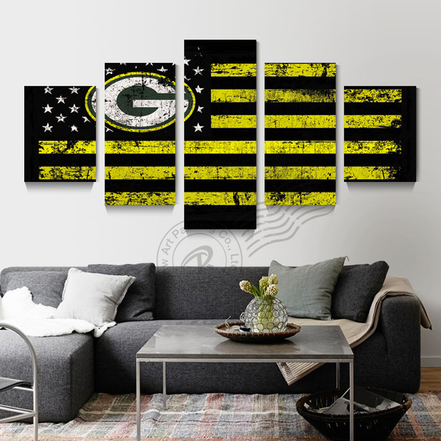 Superieur 5 Panel Green Bay Packers Flag Logo Wall Art Oil Painting Home Decor Wall  Picture For