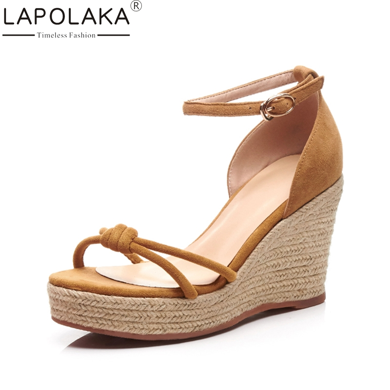 LAPOLAKA 2018 Brand New Kid Suede Genuine Leather Solid Rome Women Shoes Cover Heel Platform Party Summer Sandals Women lapolaka 2018 brand new horsehair woman elegant wedges high heel women shoes platform black summer sandals women