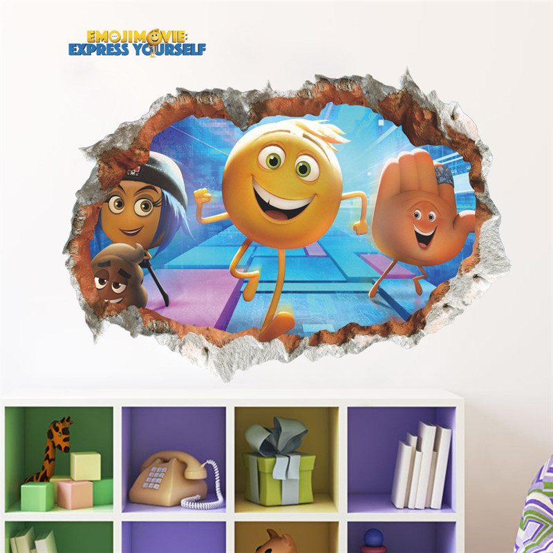Cartoon Smile Face Expression 3d effect Wall Sticker For Kids Room Children Bedroom Decor Wall Decals Art Mural Gift Poster