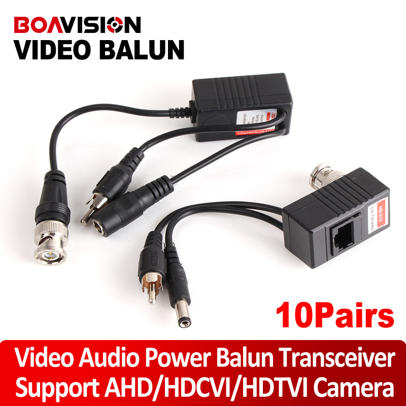 10Pair CCTV Transceiver BNC UTP RJ45 Video Balun Video, Power Over CAT5/5E/6 Cable For HDCVI/HDTVI/AHD 720P Camera Up To 300m bnc м клемма каркам