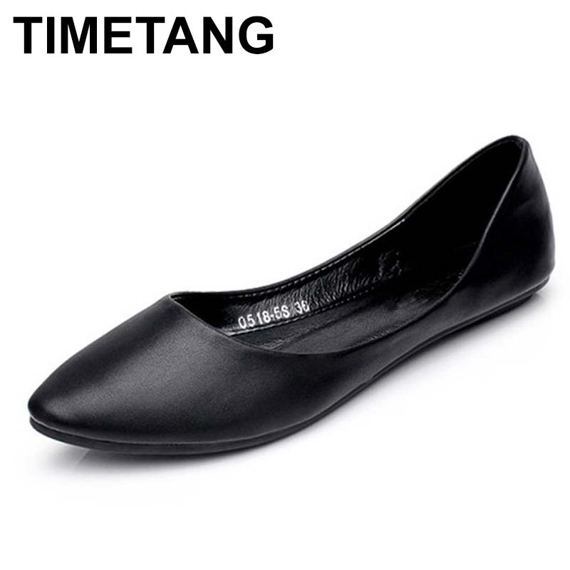 TIMETANG Ballerina Flats 2018 Pointed Toe Bowtie Sweet Flat Shoes Women Slip On Ballet Flats Woman Female Solid Casual ShoesC158 women ballerina flats shallow slip on ballet shoes pointed toe flats woman metal heart shape rubber leather black ladies shoes