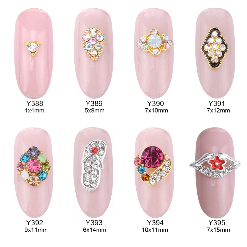 10pcs Glitter nail diamonds rhinestones gem 3d alloy nail art jewelry decoration strass adesivo accessories supplies Y388-Y395 10pcs strass unha rhinestones alloy nail decoration 2017 new style jewelry nails 3d nail art 5 colors supplies y1000