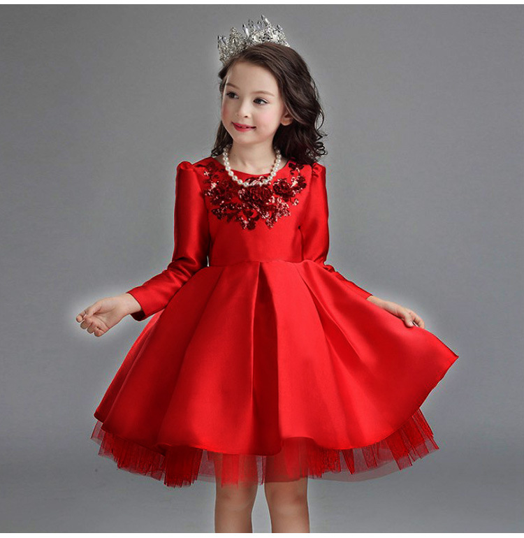 Satin Flower Girl Dress Red Sequin Princess Tutu Party Wedding Dresses for Girls Christmas Style Kids Dress 4-12T