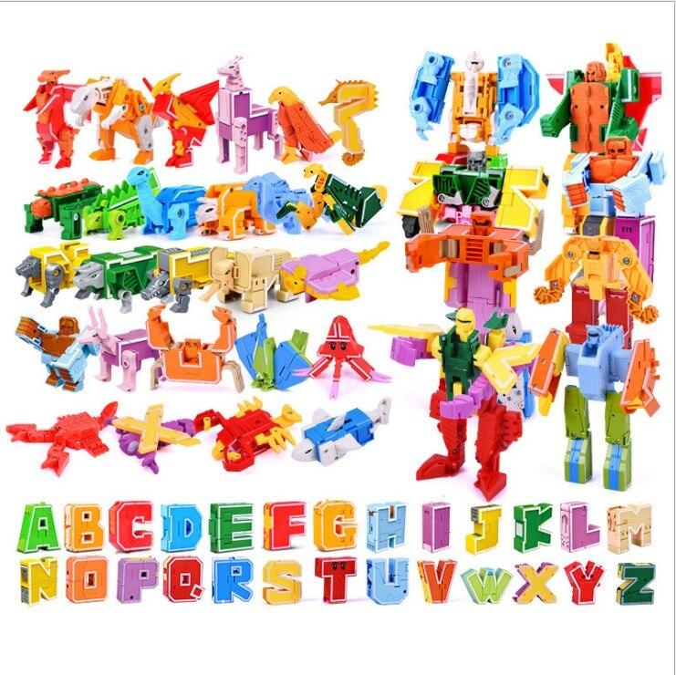 GUDI 26 English Letter Transformer Alphabet Robot Animal Creative Educational Action Figures Building Block Model toy