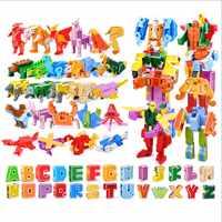 GUDI 26, transformador de letra inglesa, Robot del alfabeto, Animal creativo, figuras de acción educativas, miniatura de bloques de construcción, juguete, regalos para niños