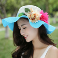 Kesebi 2017 New Hot Fashion Spring Summer Female Classic Casual Knitting Hat Women Sunscreen Beach Hat Floral Pattern Sun Hats