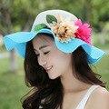 Kesebi 2017 Nueva Manera Caliente de Primavera Verano Femenino Ocasional Clásico Tejer Sombrero Mujer Protector Solar Sombrero de Playa Estampado de flores Sombreros para el Sol