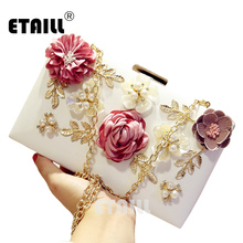 ETAILL Ladies Luxury Evening Clutch Bags Women Wedding Bags Handmade Pearl Flower Party Bridal Small Handbag Purse With Chain цена 2017