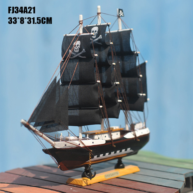 wooden model pirate ship boat sailing vessel 13 assembled on stand