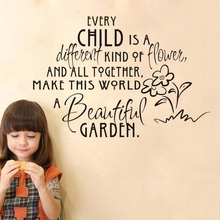 DCTOP Every Child Is A Different Kind Of Flower Wall Sticker For Kids Room Text Vinyl Wall Art Decal Home Decoration Acdessories