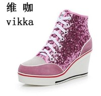 Glitter Sequins Women Casual Shoes Height Increasing Wedges Lace Up Flats Casual Ankle High Top Sliver