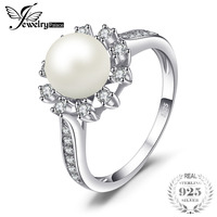 100 Natural Freshwater Pearl Shining CZ Eternity Ring 925 Sterling Silver Jewelry For Women Classic Wedding
