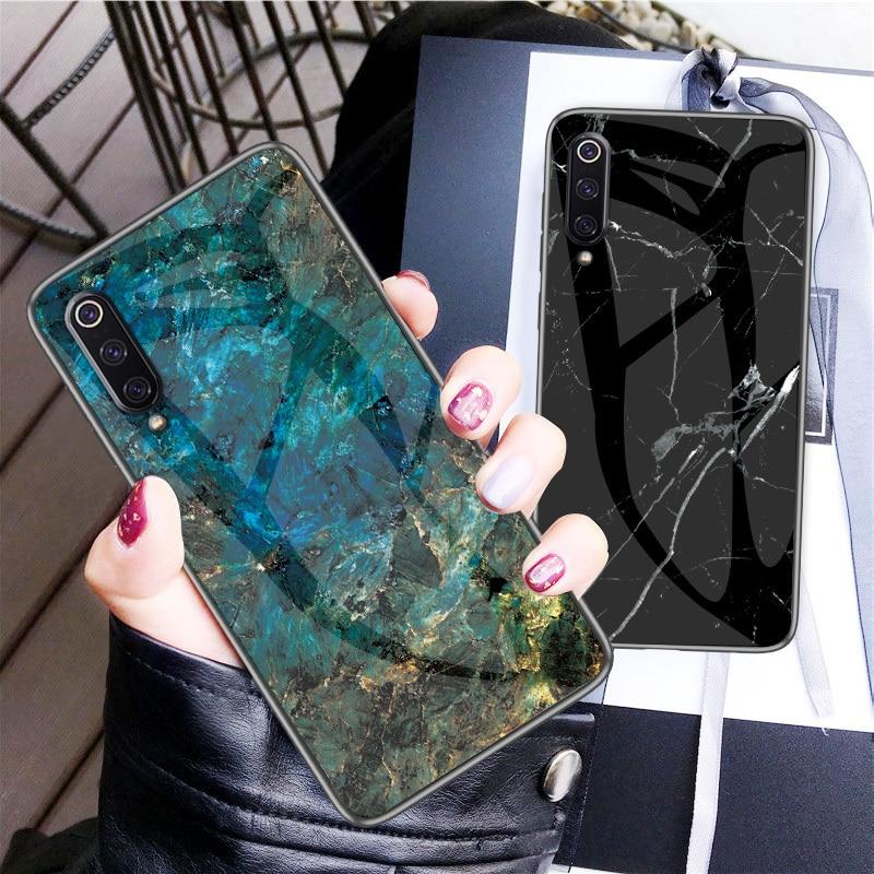Caso de telefone para xiao mi 9 mi 9 capa de vidro temperado de mármore silicone macio tpu borda volta capa para xiao mi 9 se caso capa