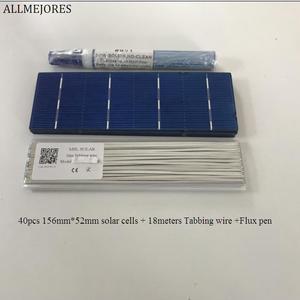 Image 1 - ALLMEJORES 40 pièces 156mm * 52mm cellule solaire polycristalline 1.4 w/pièces a grade pour bricolage 50W panneau solaire donner Tabbing wire Flux pen
